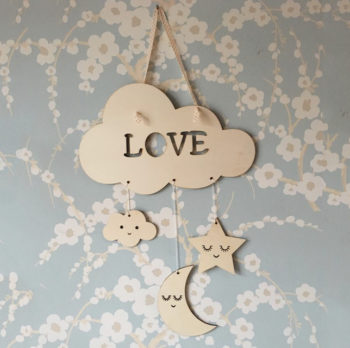 Cloud moon and stars sign