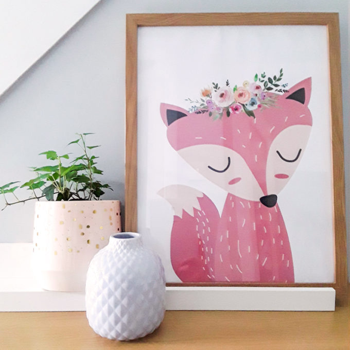 Cute Fox Baby Room Art Print
