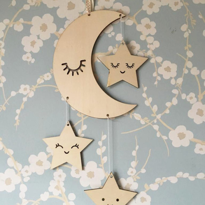 Decorative Wooden Moon and Stars Nursery Decor