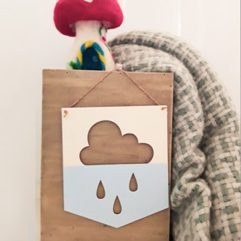 Wooden Cloud Sign Raindrops