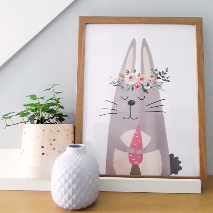 Cute Rabbit Art Print for Baby Room